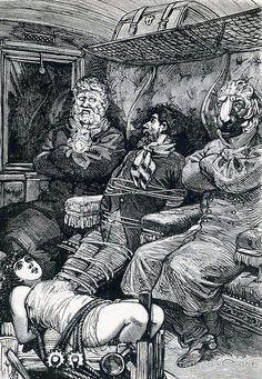 'Captives on a Train Car - A Week of Kindness, Max Ernst' Art Print by forgottenbeauty Max Ernst, Dark Fantasy Art, Dark Art, Surrealist Collage, Collage Art, Gustave Dore, Goth Art, Art Graphique, Pencil Portrait