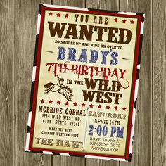 Cowboy Birthday Invitation. $15.00, via Etsy.