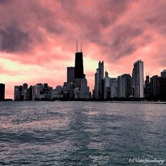Chicago sky on fire, Chicago