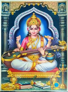 Saraswati is the goddess of music, wisdom, art, culture, science and education. May she inspire you! Durga Images, Lord Shiva Hd Images, Lakshmi Images, Saraswati Goddess, Shiva Shakti, Goddess Lakshmi, Saraswati Mata, Saraswati Picture, Lord Hanuman Wallpapers