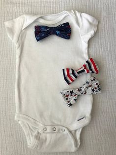 552bed692081 Onesie with Snap On Interchangeable Bow Ties-Patriotic, American, Red White  & Blue
