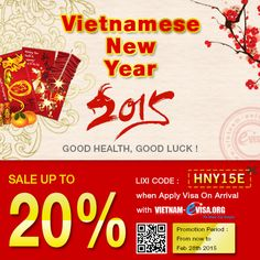 Vietnam Visa Promotion for Vietnamese New Year to get Vietnam Visa On Arrival with code: HNY15E at Vietnam-Evisa.Org