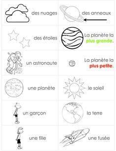 """mini space vocabulary word cards for """"work with words"""" French Teaching Resources, Teaching French, Teaching Spanish, Kindergarten Themes, Preschool Themes, Space Vocabulary, Space Words, Inquiry Based Learning, Core French"""