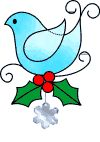 Christmas Bird free stain glass pattern