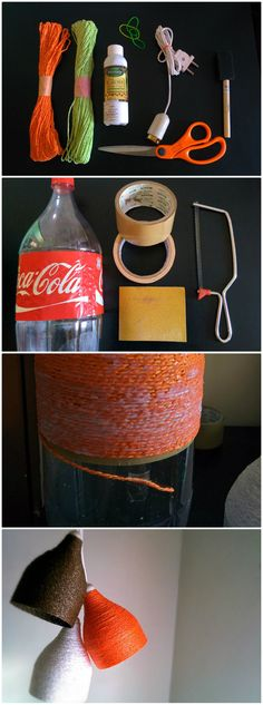 Lamp shades made using soda bottles