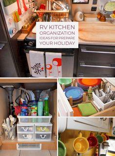 30 Awesome RV Kitchen Organization Ideas For Prepare Your Holiday – Decor & Gardening Ideas Wire Basket Storage, Small Rv, Camper Storage, Smart Storage, Rv Organization, Remodeled Campers, White Kitchen Cabinets, Rv Living, Rustic Kitchen