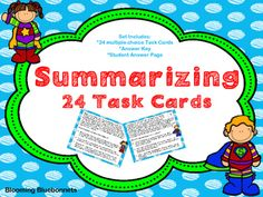 Summary Task Cards include a set of 24 short stories with multiple choice answers.  Set also includes answer key and student recording document.  These task cards are great for your learning centers.