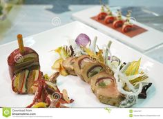 Photo about Italian cuisine, lamb served in a decorated dish for a gastronomic competition. Image of recipe, mediterranean, palatable - 12834187 Lamb, Dishes, Recipes, Food, Tablewares, Eten, Flatware, Recipies, Ripped Recipes