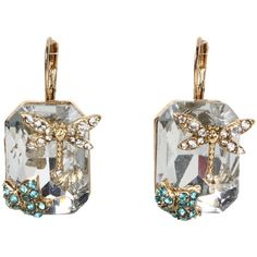 Betsey Johnson Iconic Enchanted Garden Square Drop Earrings (485 ARS) ❤ liked on Polyvore featuring jewelry, earrings, accessories, betsey johnson jewellery, betsey johnson earrings, dragonfly earrings, betsey johnson jewelry and gold tone earrings