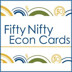 Fifty Nifty Econ Cards Nifty, Education, Cards, Teaching, Onderwijs, Playing Cards, Maps, Studying