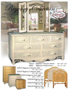 Regency white wicker bedroom furniture by Schober