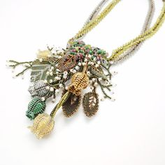 Necklace-Flower Bell Handmade Gemstone Pearl Japanese Seed Beadwork... ($223) ❤ liked on Polyvore featuring jewelry and necklaces