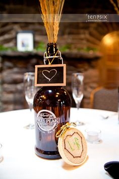 Handcrafted Beer-inspired Centerpieces. Photo credit: ten7six photography and design. (www.ten7six.com)