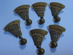 Lot of 6 Vintage 1950's Stamped Brass BASKETBALL HOOP & BALL Dangle Lapel Pins