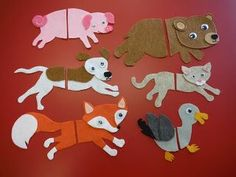 For this flannel, I used Matthew Porter's simple and lovely board book: Tails Chasing Tails.        I made each of the animals from the boo...