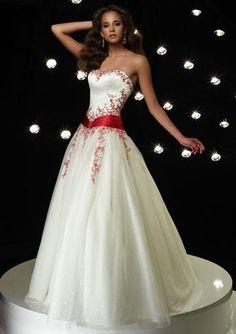 Summer Wedding Dresses All About Wedding: Romantic Strapless Summer Wedding Dress Red Wedding Dresses, Bridal Dresses, Bridesmaid Dresses, Prom Dresses, Red White Wedding Dress, Christmas Wedding Dresses, Ivory Dresses, Wedding Bouquets, Red And White Weddings