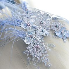 "51"" Beaded Wedding Veils Lace Fabric Embroidery Corded Bridal DIY Blue 1 Yard  | eBay"