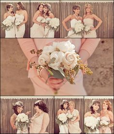 Pictures of the bride with each bridesmaid alone.