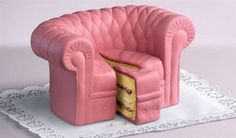 This person is really talented to make me think this was a couch made to look like a cake and not the other way around.