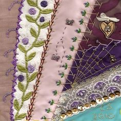 I ❤ crazy quilting & embroidery . . .   ~By Cass Salinas of Mississippi, Garden Vine and Spider Web
