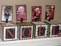 """Maybe something like this. Obviously not something Christmas themed, but any theme and word: """"family"""", """"love"""", etc. and photos attached."""