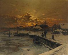 Fishing Village in Winter- Walter Moras, 1887.  Beautiful light.  Eva's blog