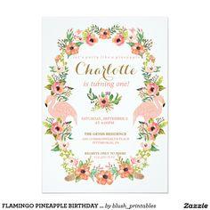 FLAMINGO PINEAPPLE BIRTHDAY invitation