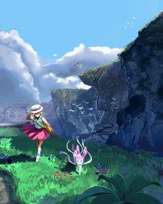 Exploring the coast with Leaf and Sylveon Pokemon Rouge, Pokemon Red, Pokemon Comics, Pokemon Fan Art, Cute Pokemon, Pokemon Stuff, Ps Wallpaper, Comic Manga, Original Pokemon
