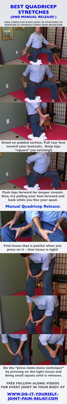 "Best Quadricep Stretches (and manual quadricep release!) Free follow-along videos and  free pain relief ""Cheat Sheet""..."