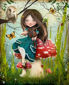 Cute fine art print of little girl on a mushroom playing the violin.