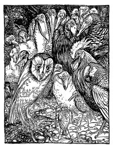 Arthur Rackham:The Owl and the Birds, illustration from Aesops Fables, published by Heinemann, 1912 Arthur Rackham, Bird Illustration, Ink Illustrations, Fables D'esope, Oil Painting Reproductions, Design Graphique, Illustrators, Fairy Tales, Vernon