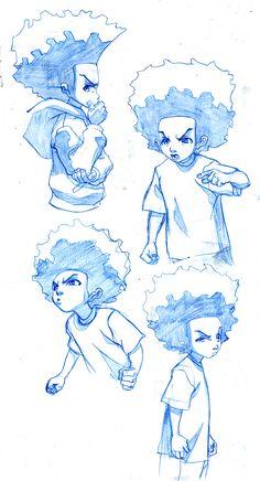 The Boondocks: Huey Freeman by `LeSeanThomas Character Model Sheet, Kid Character, Character Concept, Concept Art, The Boondocks Cartoon, Boondocks Drawings, Illustrations, Illustration Art, Graffiti Characters
