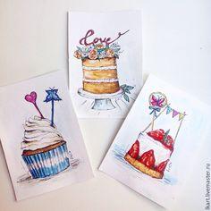 Купить Вкусные акварели - разноцветный, акварель, рисунок акварелью, акварельный рисунок, пирожные, пирожные акварелью
