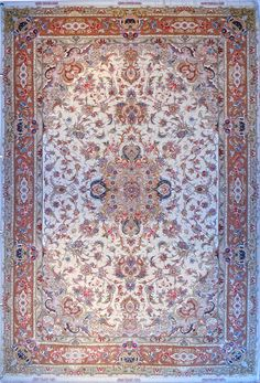Tabriz Wool Persian Rug | Exclusive collection of rugs and tableau rugs - Treasure Gallery Tabriz Wool Persian Rug You pay: $6,700.00 Retail Price: $14,500.00 You Save: 54% ($7,800.00) Item#: 4004 Category: Medium(6x9-8x11) Persian Rugs Design: Novinfar Size: 200 x 300 (cm) 6' 6 x 9' 10 (ft) Origin: Persian, Tabriz Foundation: Wool Material: Wool & Silk Weave: 100% Hand Woven Age: Brand New KPSI: 475