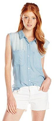 Vintage Havana Women's Denim Chambray White Plaid Button Down Sleeveless Shirt - Shop for women's Shirt - Denim Chambray Shirt