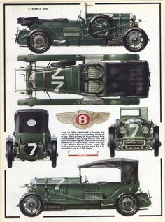 vintage motorcar BENTLEY racing car print classic car illustration, green vintage scar, Father's Day.  ready to frame.. $14.95, via Etsy.