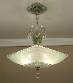 Vintage 30s jadite green art deco square glass ceiling light fixture vintage american art deco green starburst by vintageglasslights glass ceiling lightsceiling aloadofball Image collections