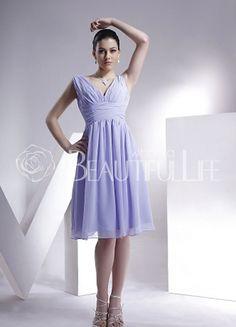 $196.50Lilac #V-Neck Empire Knee-length Chiffon #Prom #Dress