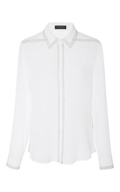 Crafted in Italy from premium silk, this **Burberry** shirt features cool contrast stitched detail.
