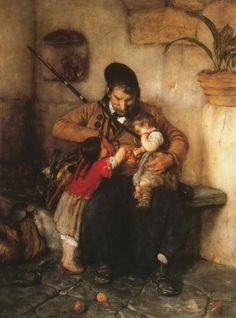 Gyzis Nikolaos (Greek, 1842 - Grandfather Offering Apples to his Grandchildren Greek Paintings, Oil Paintings, School Portraits, Greek Art, Chiaroscuro, Illustrations, Impressionism, Great Artists, In This World