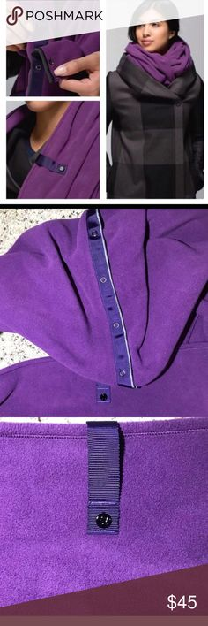 Lululemon Purple Fleece Vinyasa Scarf NWOT Lululemon purple fleece Vinyasa scarf new without tags.  Never worn.  Versatile with snap closures down the full width of scarf, and Lululemon clasp.  Check out YouTube for all of the ways this can be worn!  ♥️ Offers welcome on single items. ♥️ Immediate discount at checkout for bundles. lululemon athletica Accessories Scarves & Wraps