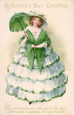 ELLEN CLAPSADDLE Unsigned ST. PATRICK'S DAY Postcard~LADY w/ UMBRELLA~Wolf #503 #StPatricksDay
