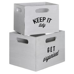 2 White distressed MDF Wooden Storage Boxes - Keep Tidy, Get Organised Bathroom Declutter