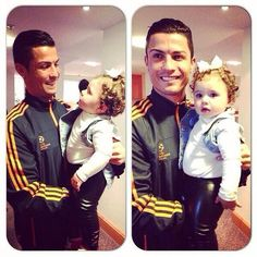 Cristiano Ronaldo with Salome. (daughter of James Rodriguez) www.footballvideopicture.com