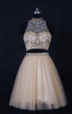 Champagne High Neck Two Pieces Homecoming Dresses Short #Short Homecoming Dress #HomecomingDresses #Short PromDresses #Short CocktailDresses #HomecomingDresses
