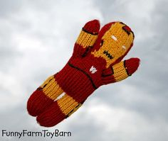 Iron Man Doll Super Hero Avengers Inspired Boys Waldorf Toy Knitted Natural Wool Materials