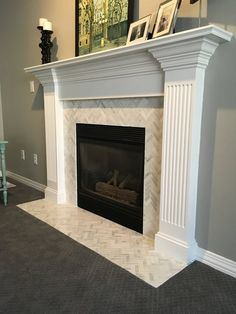 Tile Fireplace Mantels marble herringbone fireplace tiles | living rooms | pinterest