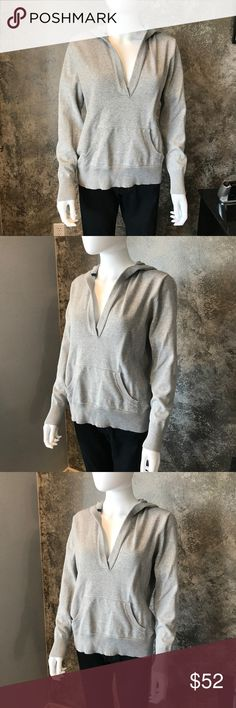 """Eddie Bauer hooded hoodie grey sweater Large Eddie Bauer brand. Large. Hooded grey sweater. Measures approximately 40"""" bust and approximately 22"""" length. Eddie Bauer Sweaters V-Necks"""