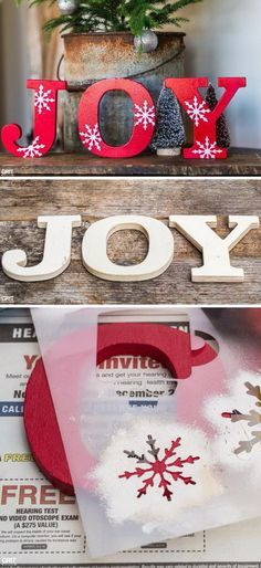 Using stencils and wooden letters to make a fun winter decoration