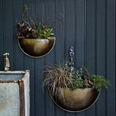 I've just found Sola Brass Wall Planter. Our striking brass wall planters are perfect for displaying florals, herbs and trailing plants to brighten your exterior or interior walls. Herb Planters, Planter Pots, Wall Planters, Wall Mounted Planters Outdoor, Brass Planter, Plant Illustration, Interior Walls, Interior Ideas, Small Gardens